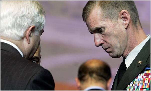 Defense Secretary Robert M. Gates spoke with Gen. Stanley A. McChrystal